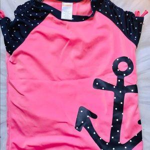 Girls Size 7 Pink Swim Top w/Anchor Print